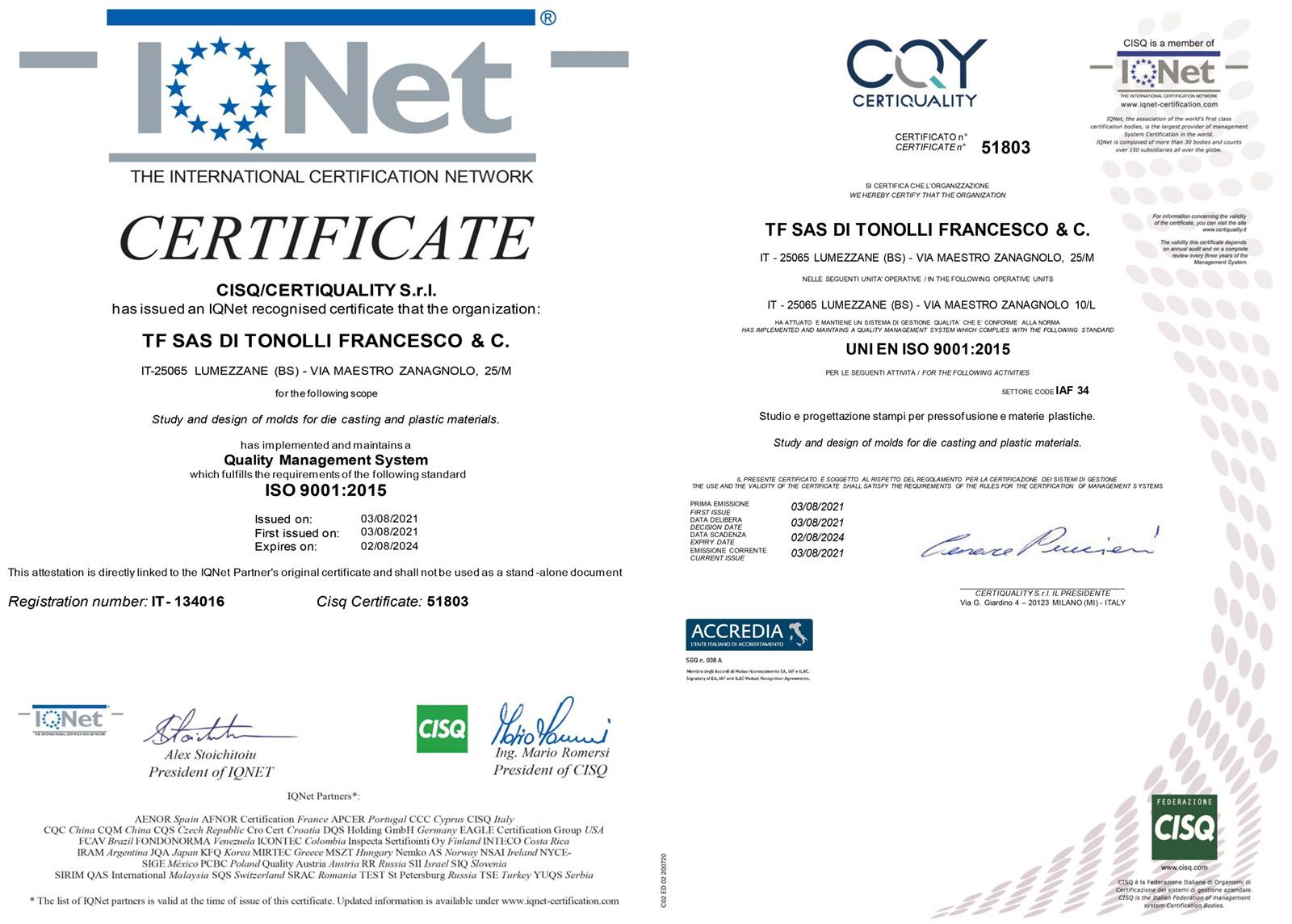 Certificazione di qualità: TFLab ottiene la 9001:2015